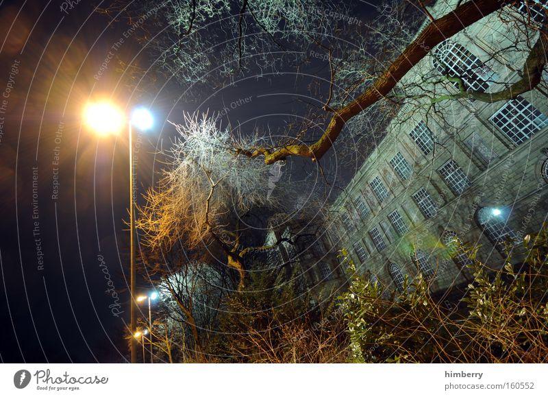 midnight crises Baum Garten Park Gebäude Architektur Fassade Laterne historisch Düsseldorf Scheinwerfer unheimlich Altbau Geisterstunde Geisterhaus Geisterstadt