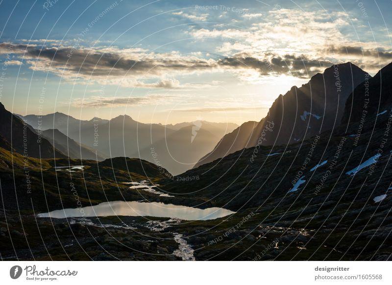 himmlisch Himmel Ferien & Urlaub & Reisen schön Wolken ruhig Berge u. Gebirge See oben Felsen träumen wandern gold ästhetisch hoch groß Klima