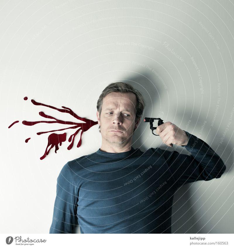 den schuss nicht gehört Mensch Mann Tod Philosophie Spielzeug Blut Fleck Humor spritzen Selbstmord Waffe Pistole Schuss schießen Moral Fälschung