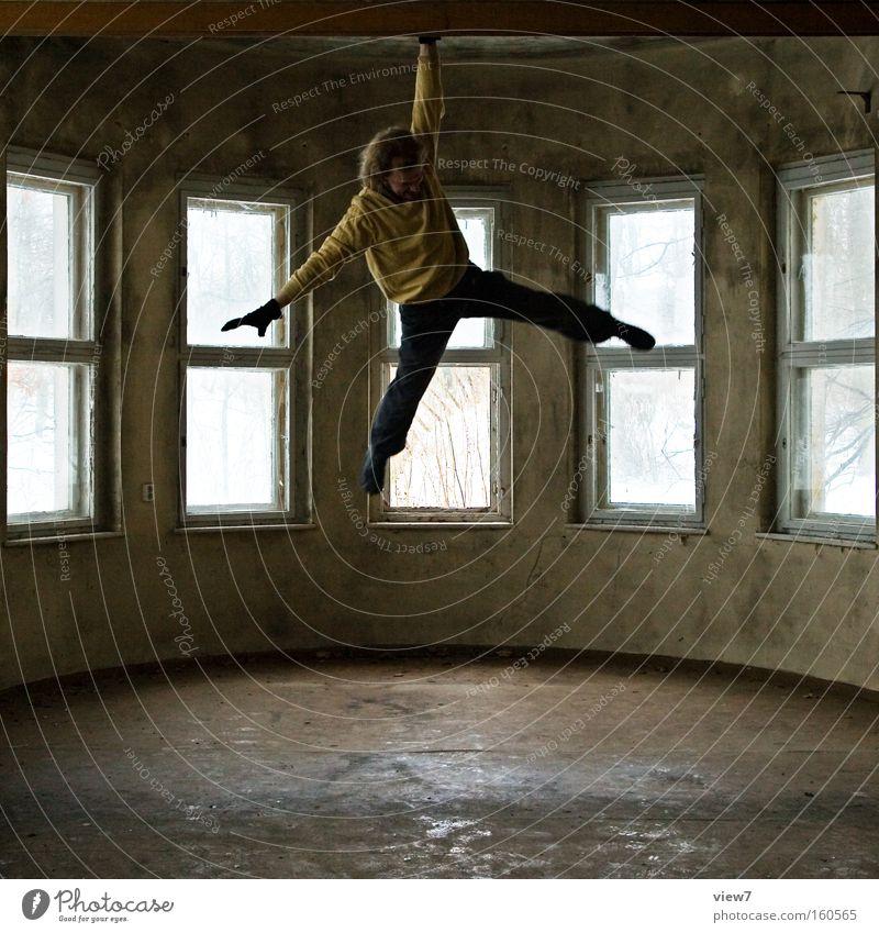 X Mann Hand Raum Kraft Kraft fahren außergewöhnlich festhalten Konzentration trashig hängen Held Schweben Schwung dramatisch schwer