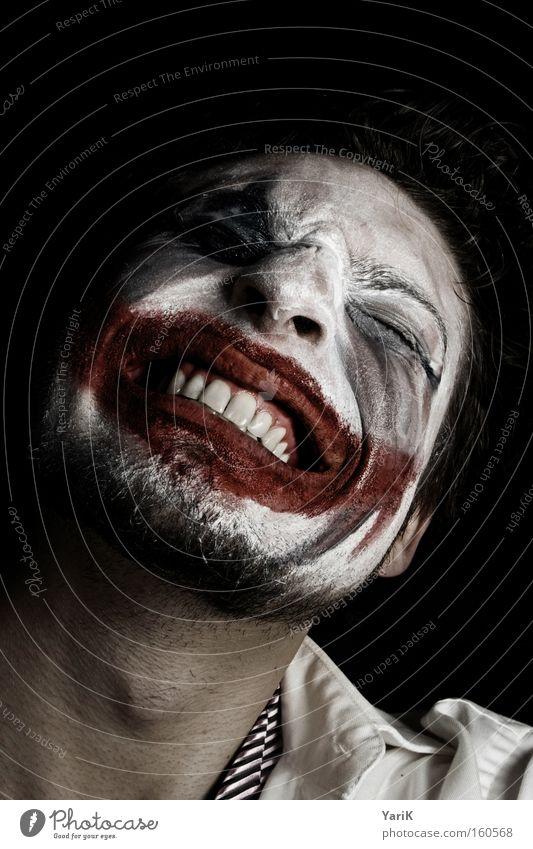 totlachen grinsen Clown Mund Zähne Schminke geschminkt verkleiden Maske Gesicht Nervosität Anspannung böse dunkel Wut Ärger Verstand Karneval