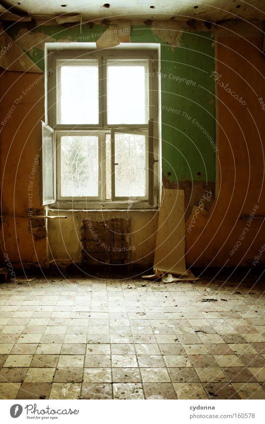 Geöffnet alt Leben Fenster Raum Zeit offen Häusliches Leben Vergänglichkeit Fliesen u. Kacheln Tapete verfallen Verfall Zerstörung Erinnerung Örtlichkeit Leerstand