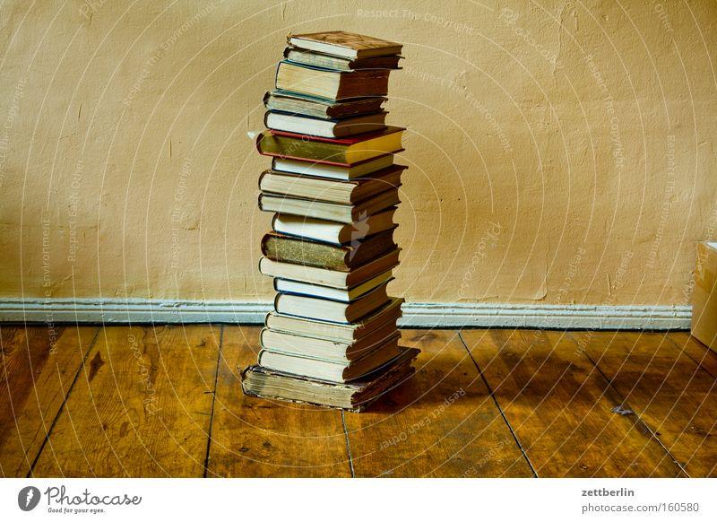 Bücher Buch Wissen lernen Antiquariat Bibliothek Stapel Literatur Studium Bildung Menschenleer Lesestoff Innenaufnahme Bodenbelag Dielenboden lesen