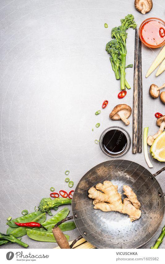 Zutaten für Asiatische Küche. Wok und Stäbchen Lebensmittel Gemüse Kräuter & Gewürze Öl Ernährung Mittagessen Abendessen Büffet Brunch Bioprodukte