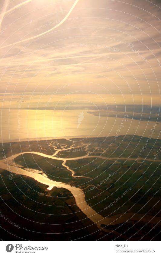 thames Himmel Sonne Meer Beleuchtung Flugzeug Nebel Fluss London Bach Dunst Themse Flußmündung Delta