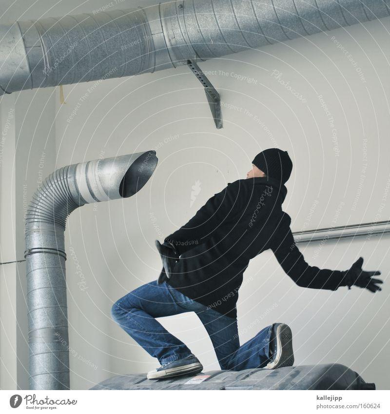 sprachrohr Mensch Mann Metall Luft Kommunizieren Telekommunikation Metallwaren Röhren Eisenrohr Schornstein laut Aluminium Sprachrohr