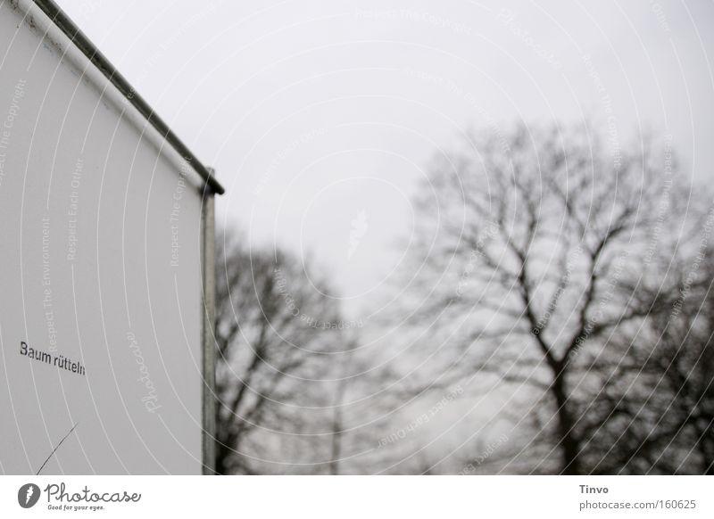 Baum rütteln Winter Schilder & Markierungen trist Hinweisschild Plakat Gartenarbeit Holzfäller auffordern