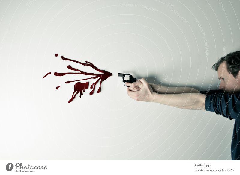 nicht ganz so teurer film Mann Mensch Schuss Pistole Fälschung Blut Comic zielen Ziel Playstation Ego-Shooter Computerspiel Waffe Gewalt Mord obskur
