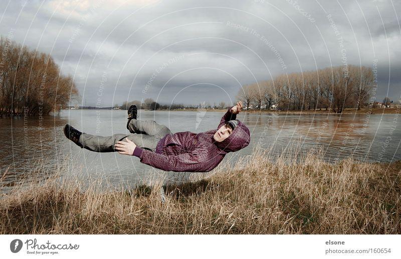 GUST OF WIND Wind Mann Wasser Wiese Landschaft fliegen Mensch Fluss Sturm Schweben Held Bach falsch Elbe Superman Umwelt