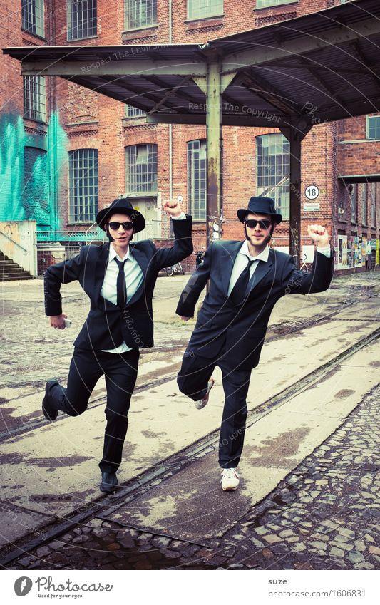 Remix | Rhythm & Blues Mensch Paar maskulin Mann Hut Blues Brothers Erwachsene Freundschaft Bekanntheit lustig trashig verrückt Team Filmstar kultig old-school