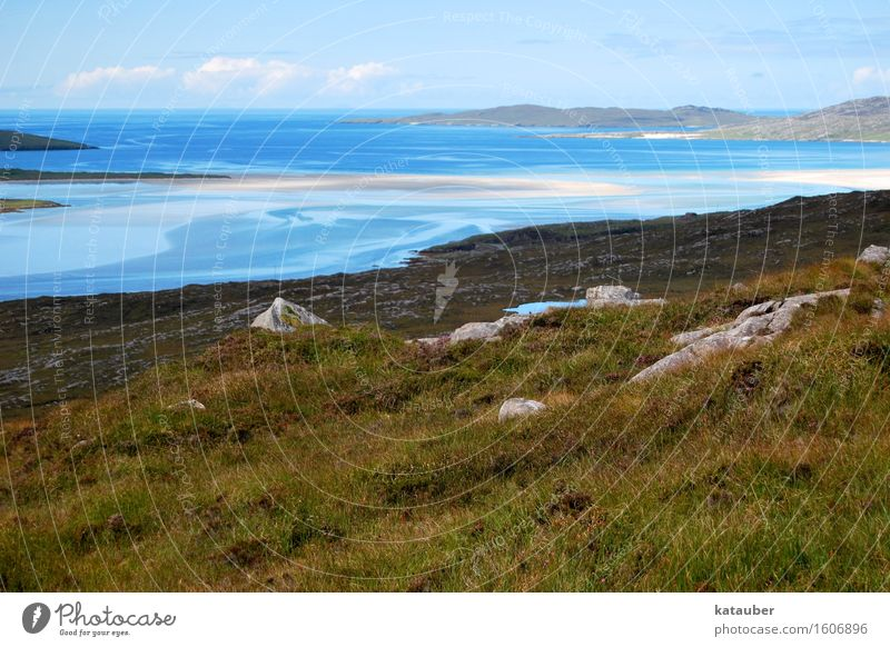 beautiful blue schön Meer Landschaft Wiese Küste Felsen Horizont Aussicht Insel Hügel türkis sanft Ebbe strömen Sandbank