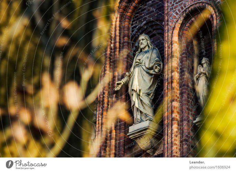 Oh' Jesus Mensch 1 2 Park Kirche Dom Mauer Wand festhalten ästhetisch authentisch gelb rot Hoffnung Glaube Volksglaube Jesus Christus Christentum