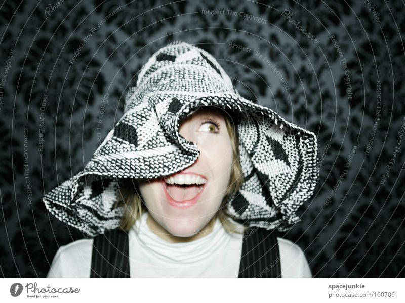 Madame Clouseau Frau Freude feminin Kopf retro Tapete Hut gefangen erstaunt Schrecken