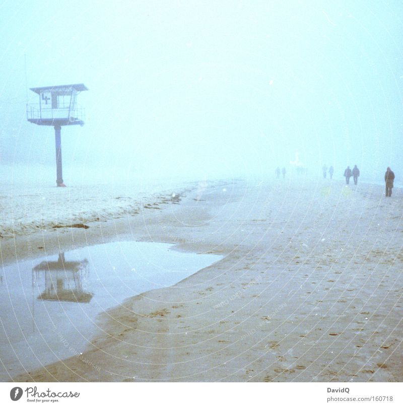strandgang Mensch Meer Winter Strand Menschengruppe Sand Küste Nebel Spaziergang Turm Ostsee Pfütze Sanitäter Rettungsschwimmer