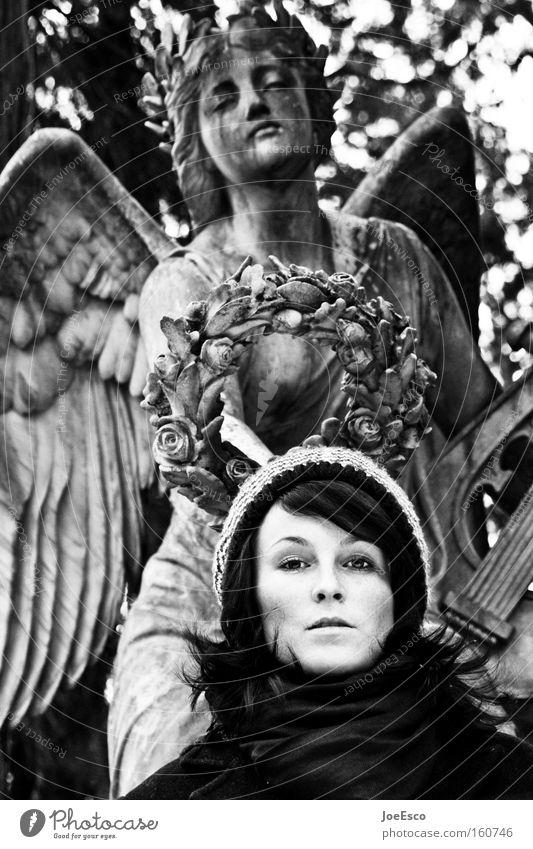 engelsgleich schön feminin Frau Erwachsene Kopf Gesicht 1 Mensch 18-30 Jahre Jugendliche Engel Blick Traurigkeit warten authentisch historisch positiv stark