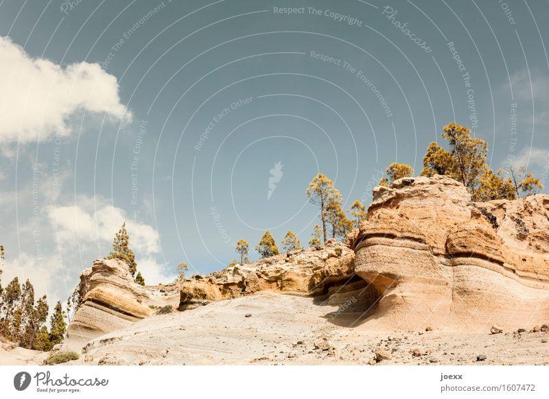 Paisaje Lunar Himmel blau grün Sommer weiß Landschaft Wolken natürlich braun Felsen Insel groß Schönes Wetter Hügel Teneriffa