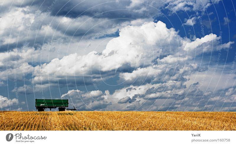 hängerchen Anhänger Sommer Ernte Feld Stroh Wolken Himmel blau Getreide Halm weiß