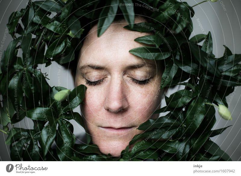 Lorbeeren schön Frau Erwachsene Leben Gesicht 1 Mensch 30-45 Jahre Topfpflanze exotisch Blatt Passionsblume Kletterpflanzen Kranz Lorbeergewächse träumen