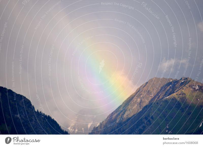 Transzendenz | Anfang und Ende Natur Landschaft Urelemente Erde Luft Himmel Wolken Klima Wetter Alpen Berge u. Gebirge Regenbogen leuchten mehrfarbig Stimmung