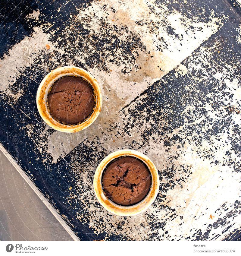 Kuchen backen Lebensmittel Teigwaren Backwaren Ernährung Festessen Diät Essen füttern blau braun silber Muffin Küche Farbfoto Gedeckte Farben Innenaufnahme