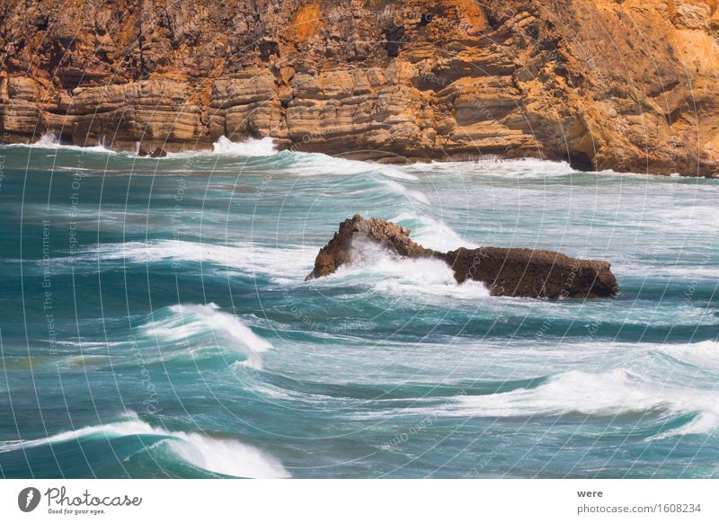 Fels in der Brandung Ferien & Urlaub & Reisen Tourismus Meer Wellen Berge u. Gebirge Wasser Küste Teich See Flüssigkeit nass stark wild Kraft Macht Algarve