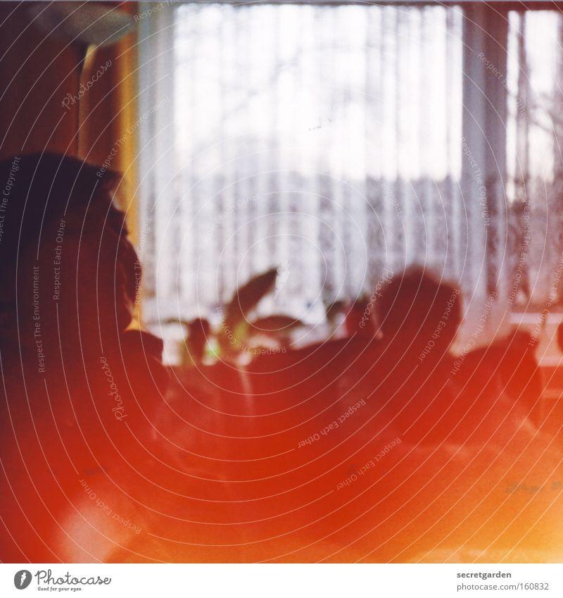 feuer bei oma! Großmutter Senior Unbekümmertheit Besucher lachen besuchen Wohnung gemütlich Fenster Gardine Enkel Generation alt Lomografie Frau Wohnzimmer rot
