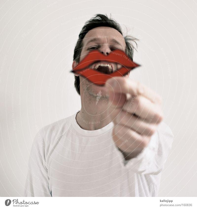 den mund halten Lippen Mund Lippenstift Schmollmund rot Liebling Schminke Symbole & Metaphern sprechen schön Kosmetik Mann lachen