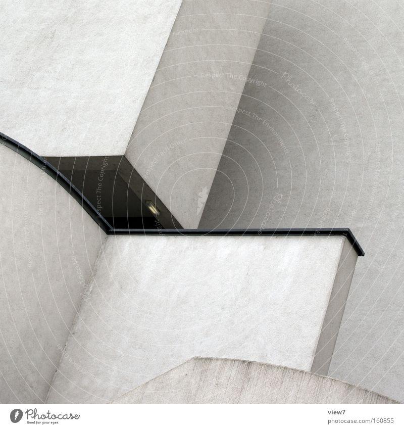 eckig Ecke Zimmerecke Beton Stein Architektur Detailaufnahme Stoß Aluminium Treppe modern trist Langeweile Putz weiß Farbe diagonal