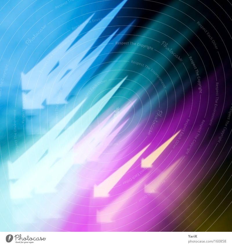 farbpfeilregen Pfeil Regen Hagel mehrfarbig zyan magenta gelb CMYK Regenbogen Spitze abwärts aufwärts Geschwindigkeit Licht Farbe
