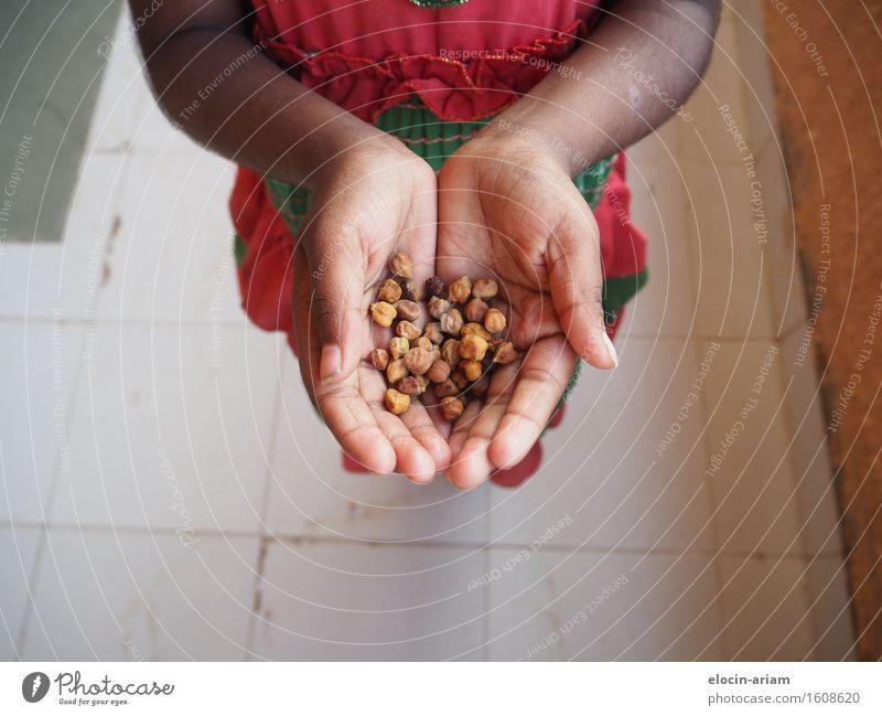 Snacktime Nuss Ernährung Mensch Kind Mädchen Hand Finger 1 3-8 Jahre Kindheit Kleid Vorfreude Gastfreundschaft Appetit & Hunger genießen Indien Farbfoto