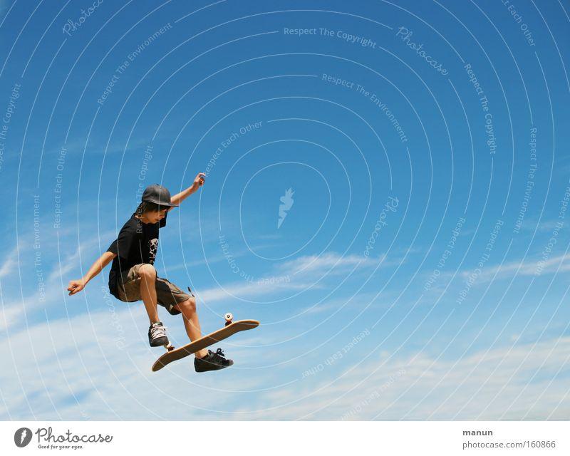 Yes, I can! Himmel blau Sommer Freude Sport Leben springen Stil Bewegung Freiheit Glück Gesundheit Arme fliegen Erfolg hoch