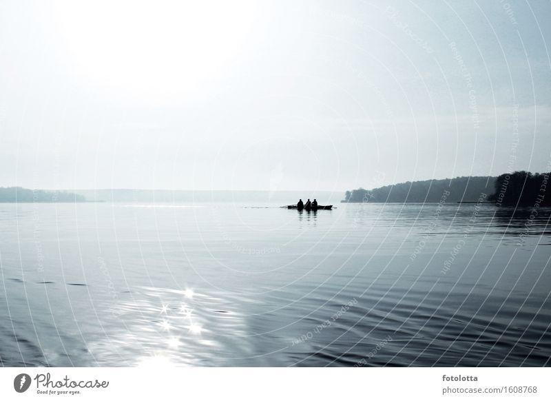 morgens Himmel Natur blau Wasser Erholung ruhig Bewegung Sport Fluss Ruderboot Wassersport Rudern