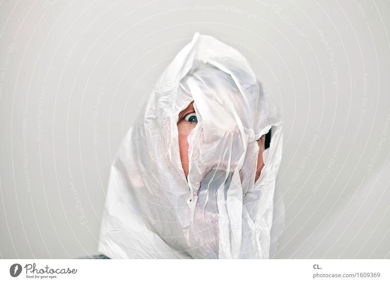 remix | dein foto zeigt personen Mensch maskulin Mann Erwachsene Leben Gesicht Auge 1 30-45 Jahre Plastiktüte schreien außergewöhnlich gruselig lustig verrückt
