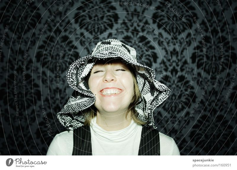 Happiness Porträt Frau feminin Hut Kopf Tapete Blick Freude Fröhlichkeit lustig Lebensfreude lachen retro Momentaufnahme