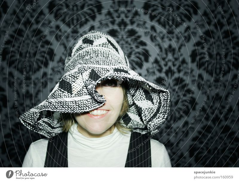 Madame Clouseau (2) Frau Freude feminin Kopf retro Tapete Hut gefangen erstaunt Schrecken