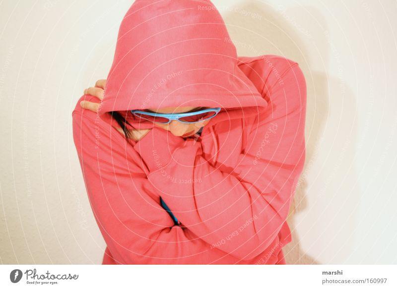 think pink Farbfoto Lifestyle Freizeit & Hobby Mensch 1 Gefühle Stimmung Hemmung Angst Verzweiflung festhalten stoppen Traurigkeit Einsamkeit rosa Brille Blick