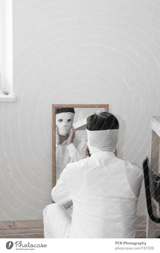 gesichtsneurose Mann weiß Gesicht Mensch Kunst Maske Spiegel Hemd Geister u. Gespenster Spiegelbild Kunsthandwerk bandagieren