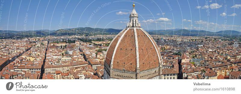 Dom in Florenz Stadt Stadtzentrum Architektur Sehenswürdigkeit blau braun mehrfarbig gelb grau grün orange rosa rot weiß Kuppeldach Kathedrale domkuppel Toskana
