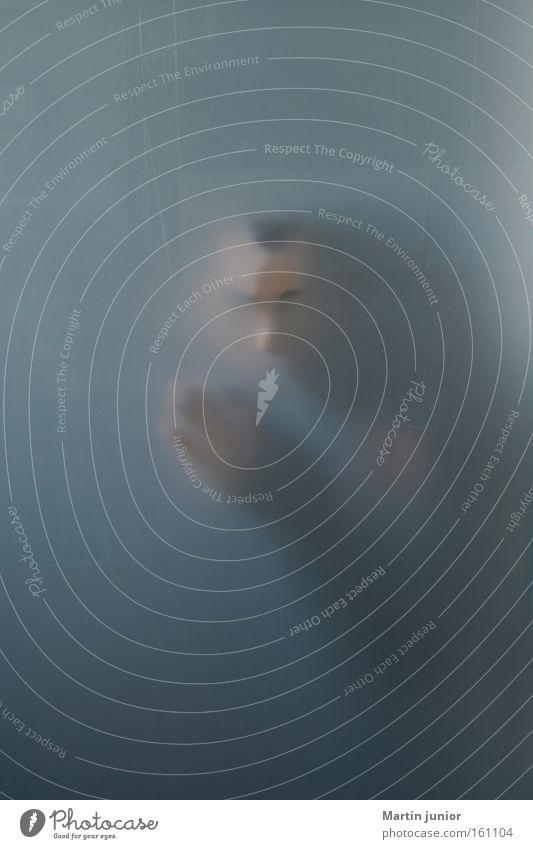 Ist da jemand? Hand blau Lampe grau Kopf Raum Angst Panik anonym untergehen Verlauf Krimi Milchglas