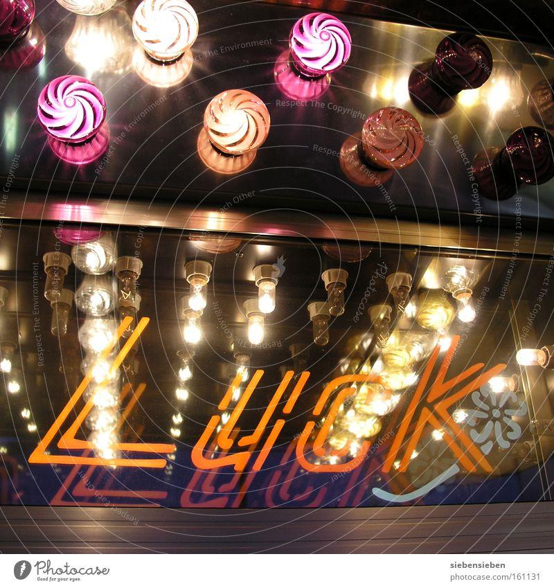 LUCK Schriftzeichen Buchstaben Lampe Information Glücksspiel Typographie Jahrmarkt Sechziger Jahre Luck Beleuchtung. Glück