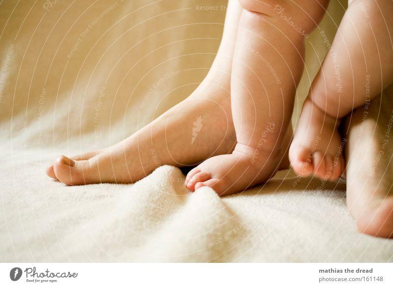 PATSCHE FÜßE Fuß Beine Mensch Körperteile Zehen klein Mutter Kind Zusammensein süß Baby schön stehen laufen Kontrast Kleinkind Barfuß