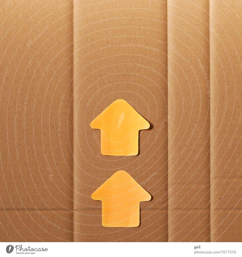 Aufwärts Karriere Erfolg Papier Karton Zeichen Schilder & Markierungen Hinweisschild Warnschild Pfeil Unendlichkeit positiv braun orange Optimismus Kraft