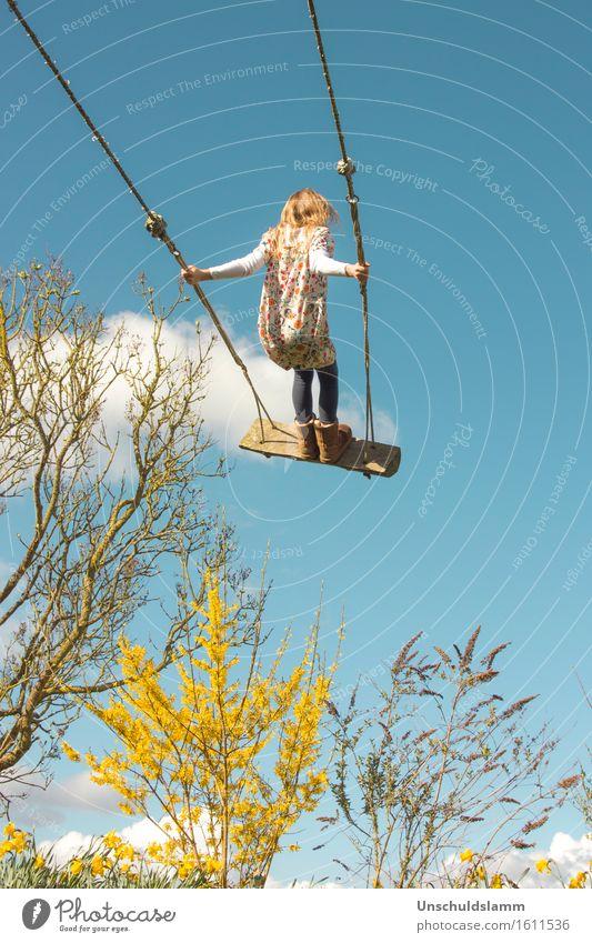 How to catch a cloud Mensch Kind Pflanze blau Wolken Freude Mädchen gelb Leben Frühling Gefühle Bewegung Lifestyle Spielen Garten Stimmung