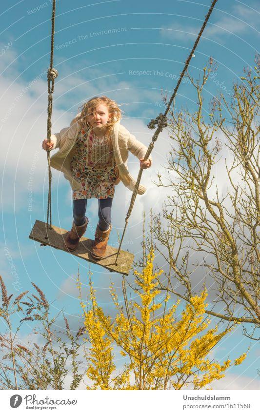 Frühling jetzt! Mensch Kind Natur Wolken Freude Mädchen Leben Gefühle Frühling Bewegung Spielen Freizeit & Hobby Luft frei Idylle Kindheit