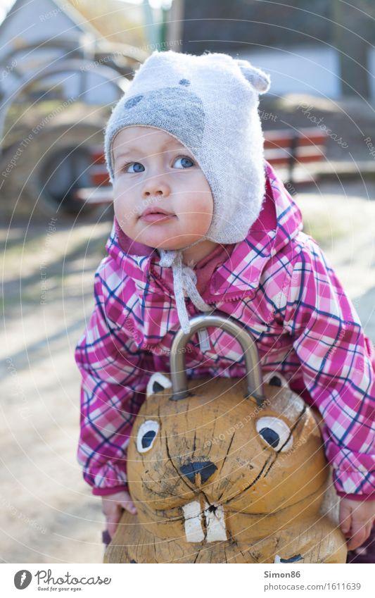 I'm looking for? feminin Kind Kleinkind Mädchen Kindheit 1 Mensch 1-3 Jahre beobachten nachdenklich hängen lassen Mütze Frühling schön Hamster Spielplatz