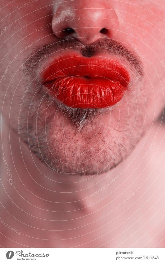 Schmollmund Kunst Kunstwerk ästhetisch Küssen Kussmund Lippen Lippenstift Lippenpflege Kosmetik maskulin Vatertag Bart Barthaare Bartstoppel Dreitagebart Erotik