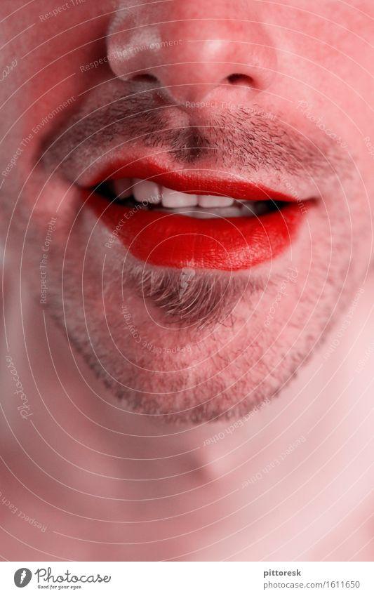 Rotmund Kunst ästhetisch Mund Mundgeruch Mundwinkel Lächeln rot Lippen Lippenstift Nase Bart Barthaare maskulin Erotik Gesicht Mode Körperpflegeutensilien