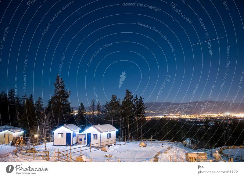 Nachts auf der Farm II Ferien & Urlaub & Reisen unterwegs Flugzeug Tanne Schnee Winter Bauernhof Hütte Gehege Langzeitbelichtung Nachtaufnahme kalt Aussicht