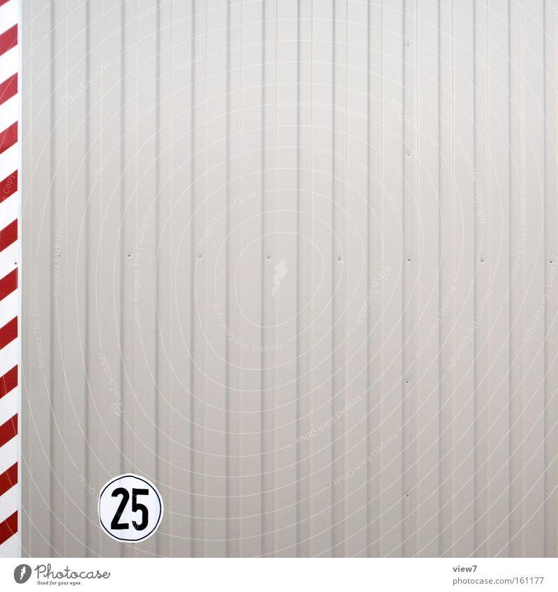 Graphikdesign fünf rot grau Metall Linie Hintergrundbild Fassade Schilder & Markierungen Ordnung Beginn frisch modern ästhetisch authentisch Streifen Hinweisschild Ziffern & Zahlen