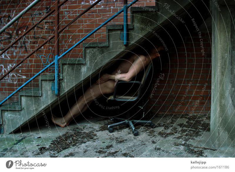 2200_sich nach oben schlafen Mensch Mann nackt Architektur Arbeit & Erwerbstätigkeit sitzen Beton Treppe Niveau Karriere aufsteigen Hierarchie Lebenslauf Ergonomie